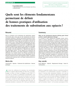 Quels sont les éléments fondamentaux permettant de définir de bonnes pratiques d'utilisation des traitements de substitution aux opiacés ?