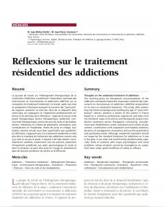Réflexions sur le traitement résidentiel des addictions