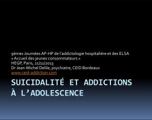 Suicidalité et addictions à l'adolescence