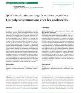 Les polyconsommations chez les adolescents