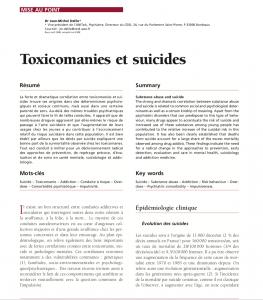 Toxicomanies et suicides